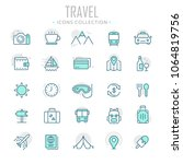 collection of travel thin line... | Shutterstock .eps vector #1064819756