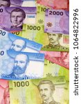 Small photo of Chilean peso bills - background