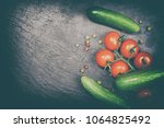 composition with fresh... | Shutterstock . vector #1064825492
