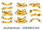 set of golden ribbons.gold... | Shutterstock .eps vector #1064841242