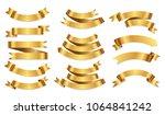 set of golden ribbons.gold... | Shutterstock .eps vector #1064841242