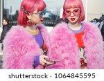 milan   february 21  women with ...   Shutterstock . vector #1064845595