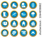 winter icons blue circle set... | Shutterstock . vector #1064858882
