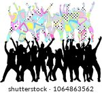 dancing people silhouettes.... | Shutterstock .eps vector #1064863562