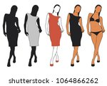 vector icons of woman in... | Shutterstock .eps vector #1064866262
