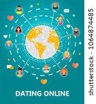 dating online concept vector... | Shutterstock .eps vector #1064874485