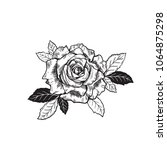 vector rose flower tattoo... | Shutterstock .eps vector #1064875298