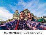 tourist in sofia bulgaria take... | Shutterstock . vector #1064877242