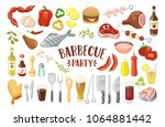 barbecue party icons set.... | Shutterstock .eps vector #1064881442