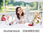 positive ice cream seller in... | Shutterstock . vector #1064883182