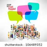 a large group of people gather... | Shutterstock .eps vector #106489352