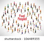 a large group of people gather... | Shutterstock .eps vector #106489355