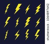 thunder sign set. flash icons.... | Shutterstock .eps vector #1064897642