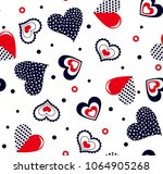 hearts pattern with polka dots... | Shutterstock .eps vector #1064905268