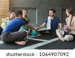 young people sitting in circle...   Shutterstock . vector #1064907092
