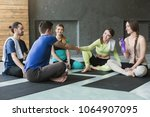 young people sitting in circle...   Shutterstock . vector #1064907095
