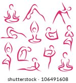 Yoga  Pilates Big Set Of Vector ...