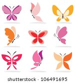 Stock vector set of butterfly icons isolated vector illustration 106491695
