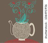 graphic funny teapot with flower | Shutterstock .eps vector #106491956