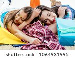 close up of two beautiful women ... | Shutterstock . vector #1064931995