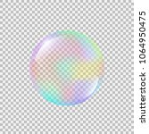 realistic soap bubble with... | Shutterstock .eps vector #1064950475
