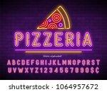 pizzeria neon light alphabet ... | Shutterstock .eps vector #1064957672