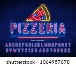 pizzeria neon light alphabet ... | Shutterstock .eps vector #1064957678