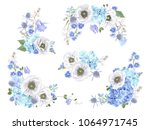 vector botanical set with blue... | Shutterstock .eps vector #1064971745