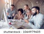 creative business team working... | Shutterstock . vector #1064979605