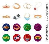 wedding rings  cuff links ... | Shutterstock .eps vector #1064979896