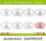 drawing lesson for children.... | Shutterstock .eps vector #1064989145