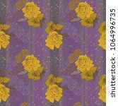 yellow roses on lilac background | Shutterstock .eps vector #1064996735