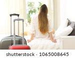 back view of a traveler... | Shutterstock . vector #1065008645