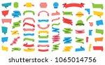 flat vector ribbons banners... | Shutterstock .eps vector #1065014756
