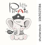 cute baby elephant in a pirate... | Shutterstock .eps vector #1065025586