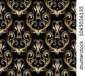 baroque damask gold 3d seamless ... | Shutterstock .eps vector #1065026135