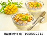 chia pudding with coconut milk  ... | Shutterstock . vector #1065032312