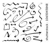 hand drawn doodle vector arrows ... | Shutterstock .eps vector #1065045848