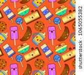 cute seamless pattern with... | Shutterstock .eps vector #1065055382