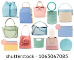collage of fashionable bags... | Shutterstock . vector #1065067085