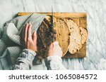 flat lay of female hands... | Shutterstock . vector #1065084572