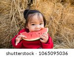 asian kid eating watermelon... | Shutterstock . vector #1065095036