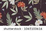 botanical seamless pattern  red ... | Shutterstock .eps vector #1065103616