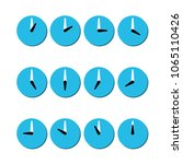 group of clocks  blue icons of... | Shutterstock .eps vector #1065110426