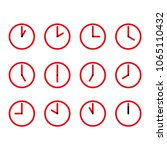 red and black clocks... | Shutterstock .eps vector #1065110432