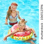children sitting on inflatable... | Shutterstock . vector #106512596
