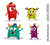 Vector Cartoon Cute Monster Se...