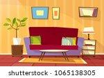 vector cartoon living room... | Shutterstock .eps vector #1065138305