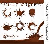 set of dark chocolate blots and ... | Shutterstock .eps vector #1065141902