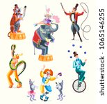 circus characters  tiger and... | Shutterstock .eps vector #1065146255